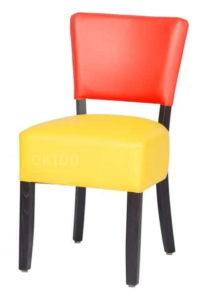 Lisa 2 kleurig rood geel HOOFDFOTO 401x600 - Stoel Lisa 2-kleurig