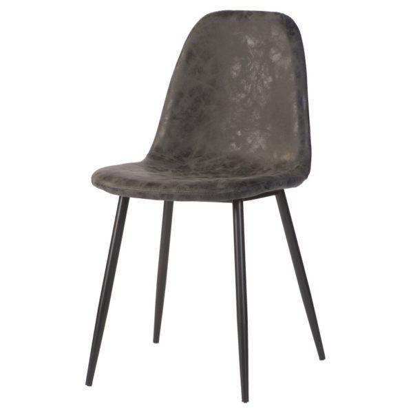stoel Charlie Antraciet heeft een zwart metalen onderstel