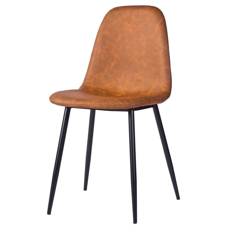 Stoel Charlie Cognac is een cognackleurige stoel met zwarte poten