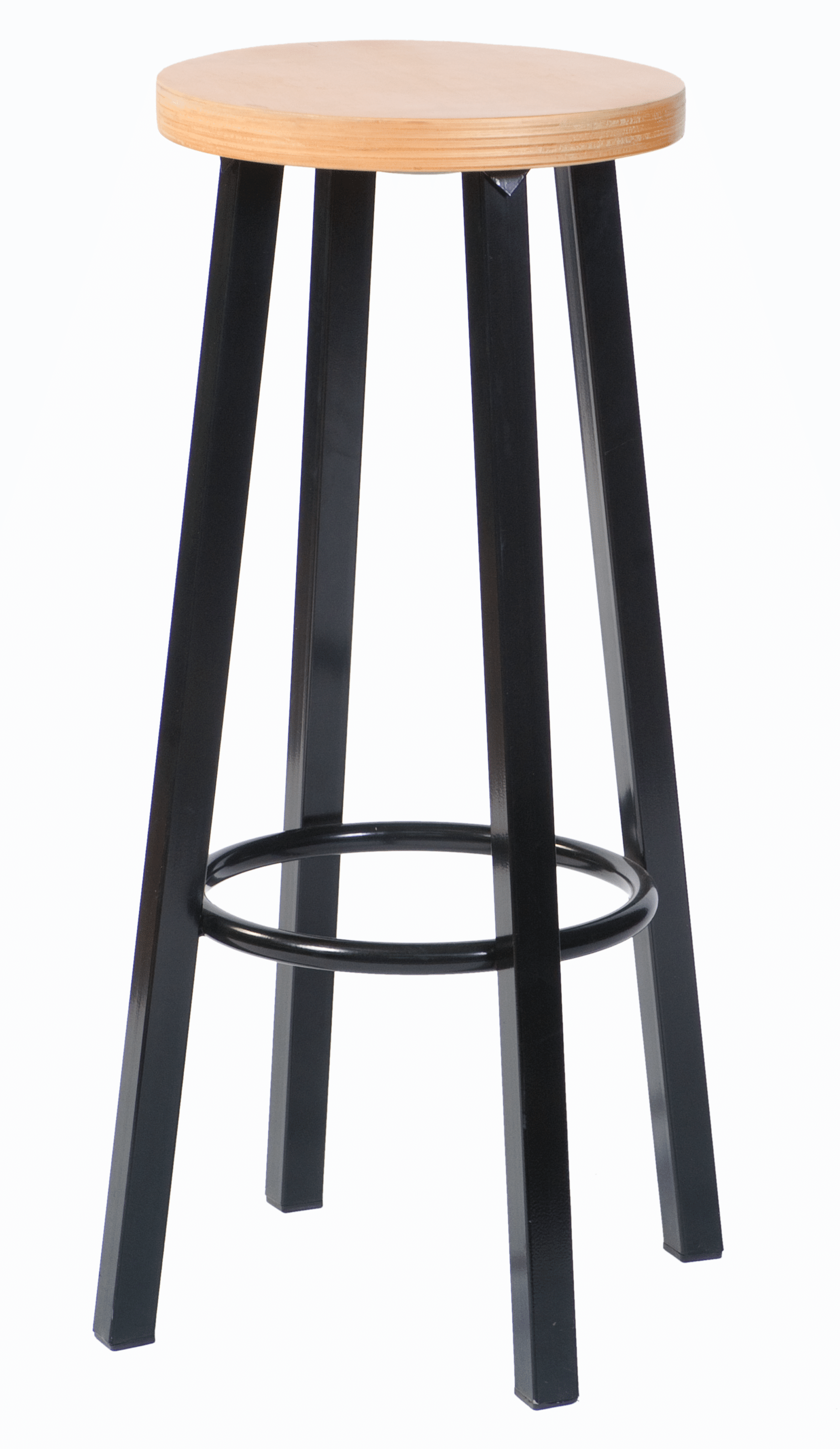 204 Blank Beuken 1 - Barkruk 204H Zwart