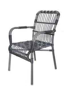 aluminium terrasstoel Darwin in vergrijsde bamboe-look