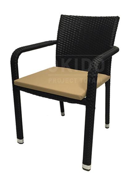 Horeca terrasstoel black met kussen