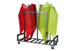 Transportkar met stapelstoelen zij aanzicht 300x200 - Transportset Samba dubbel