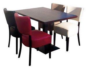 stoel Lisa 4x met tafel 120x80 met gietijzer poot 300x239 - Lisa Set 4