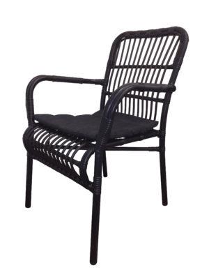 stapelbare terrasstoel Darwin zwart heeft een aluminium frame en is voorzien van zwart wicker.