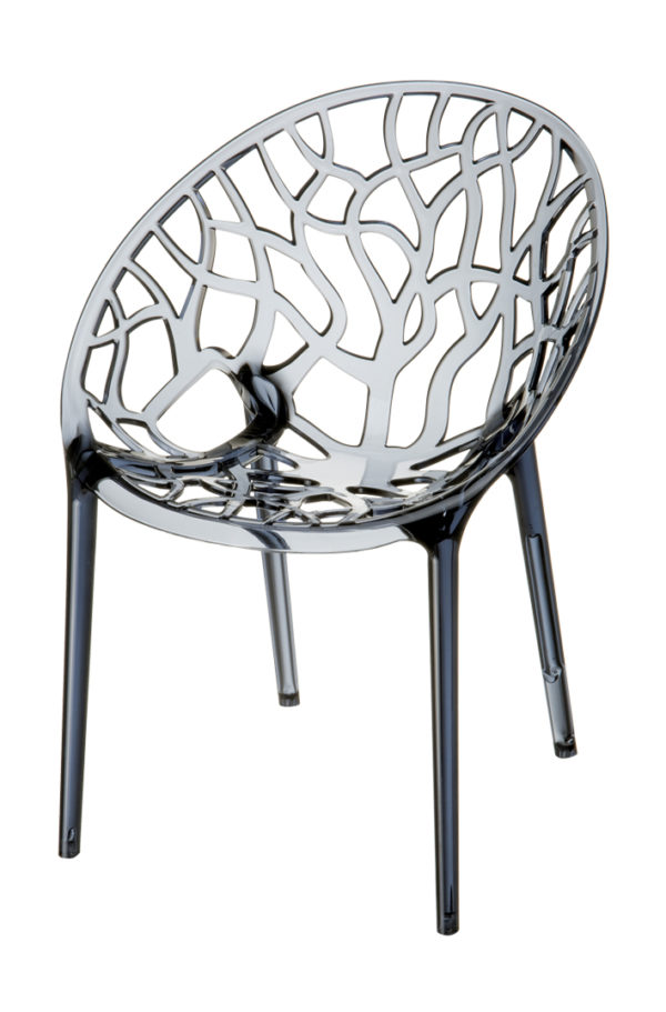 designstoel crystal grijs