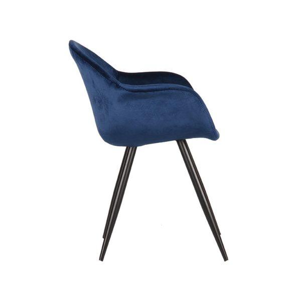 Floris velvet blauw zijkant 600x600 - Stoel Floris Velvet blauw