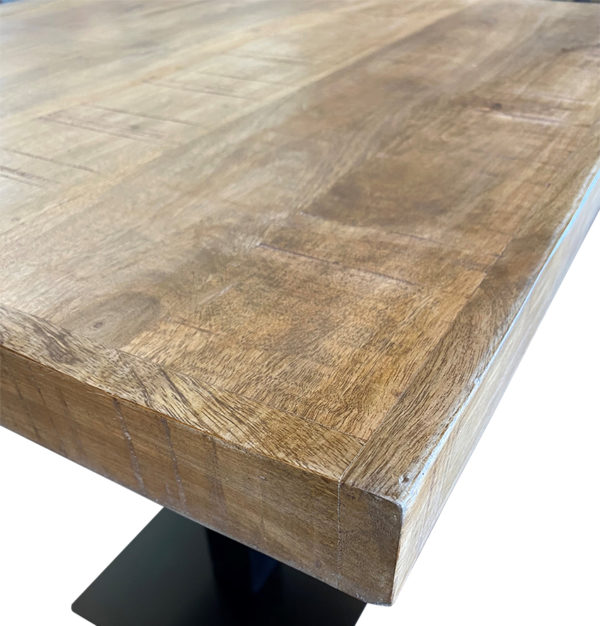 mangohout tafel detail 600x626 - Tafel mangohout 120x70